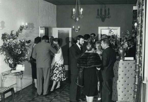 Black and white photo of a vintage 1968 wedding at Brighton Savoy
