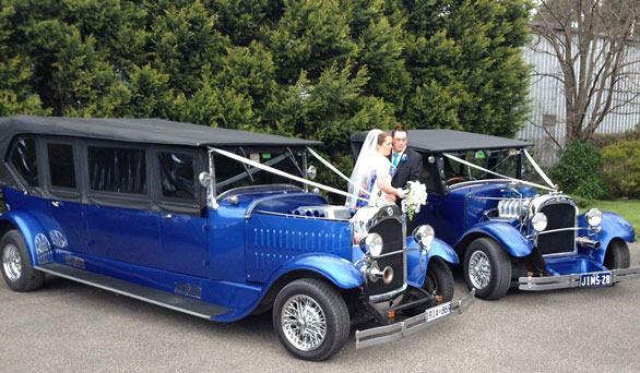 Blue hotrod wedding cars
