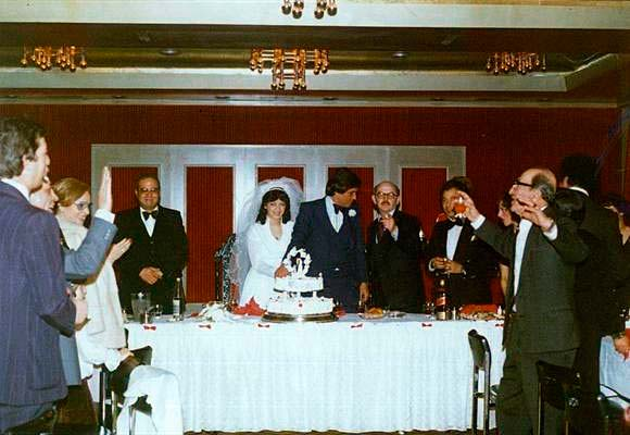 Vintage photo of a bridal table at a wedding reception hosted at Brighton Savoy in the late 1970's