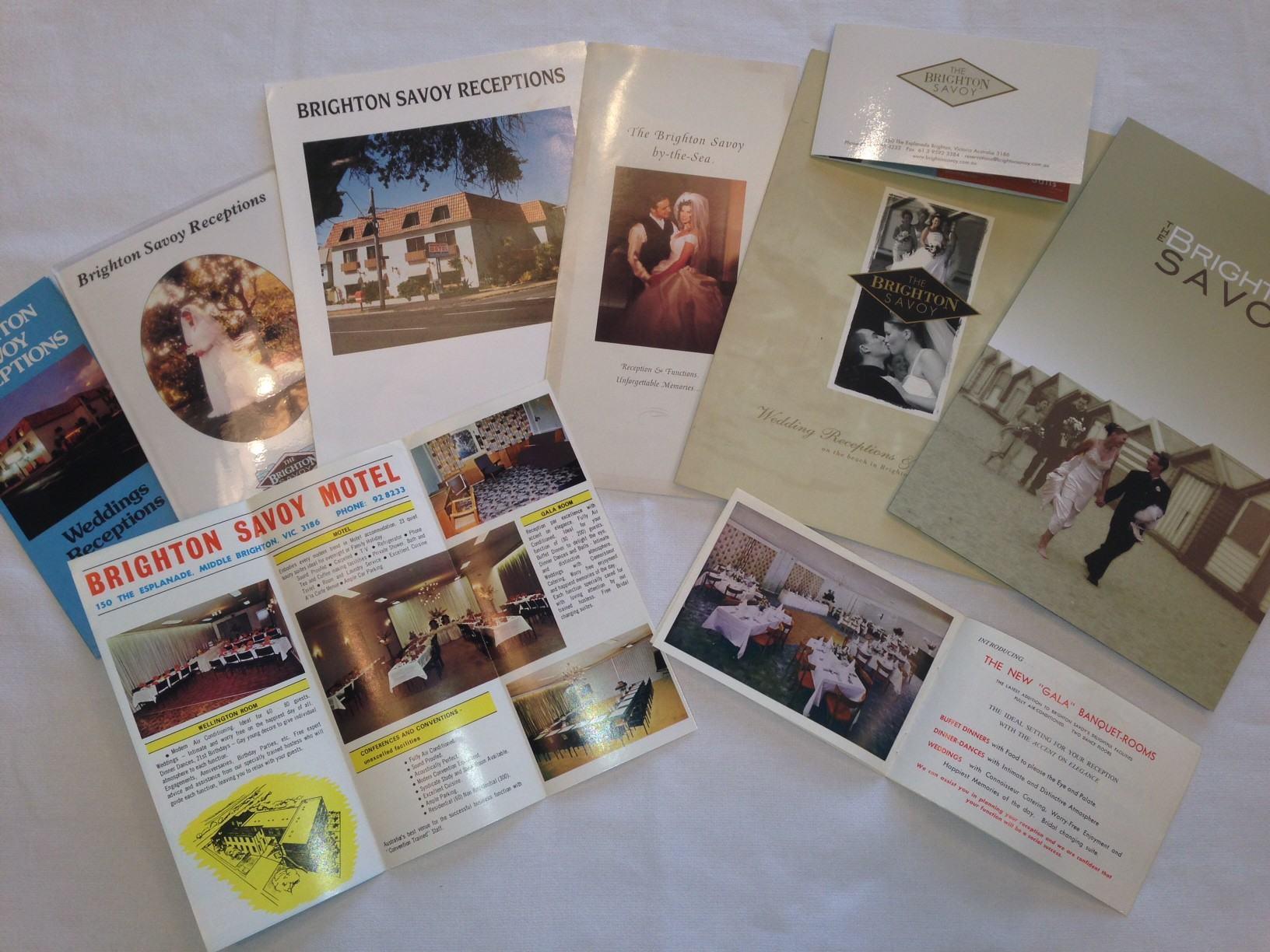 Photo of historical Brighton Savoy wedding reception brochures
