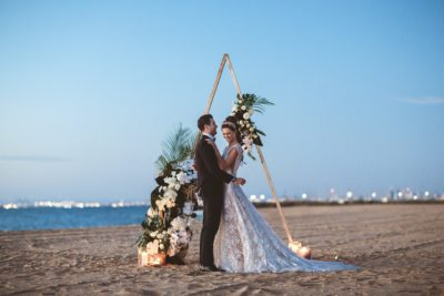 Beach wedding venue ceremony