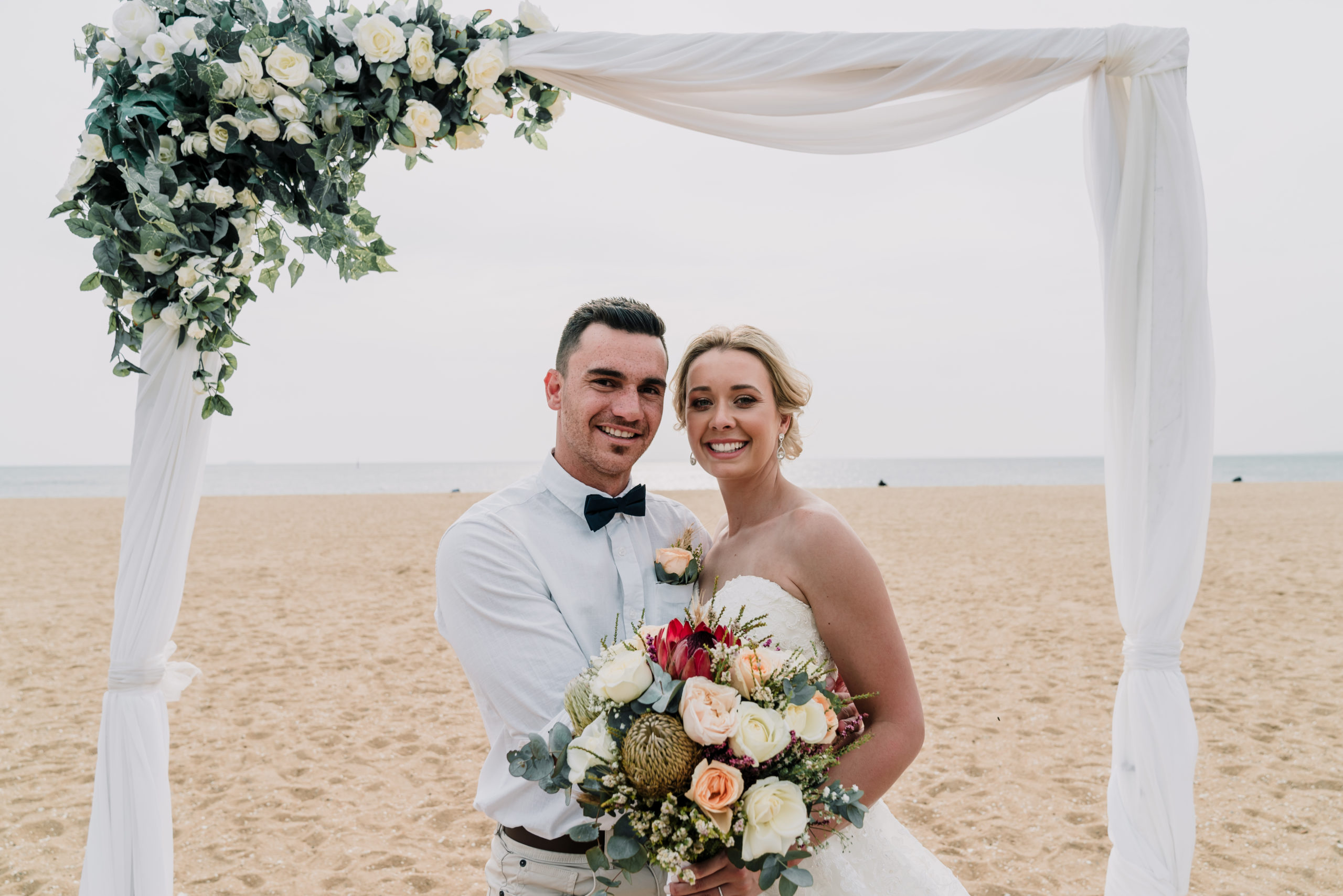 couple at beach wedding