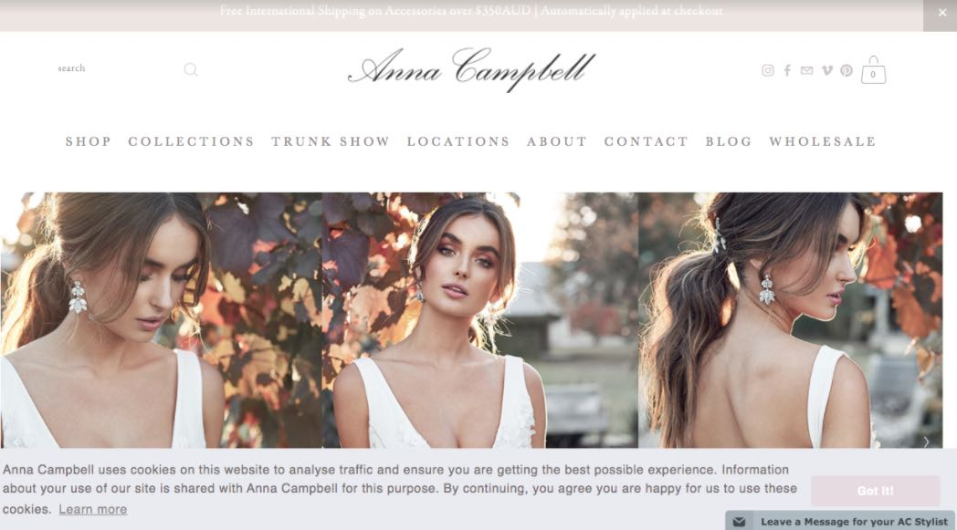 Anna Campbell Wedding Dress Designer Shop Melbourne