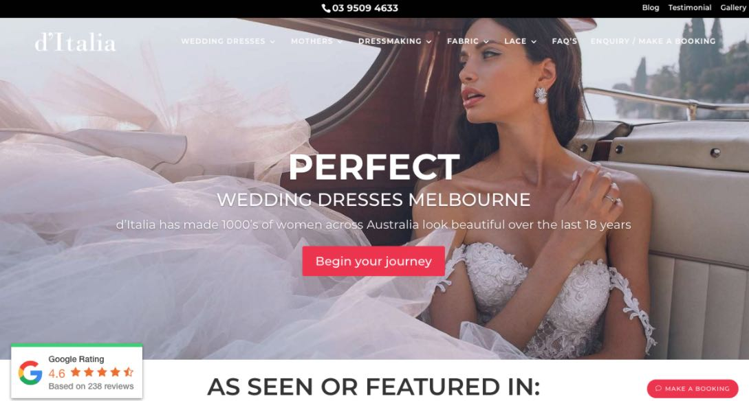 D'italia Wedding Dress Designer Shop Melbourne