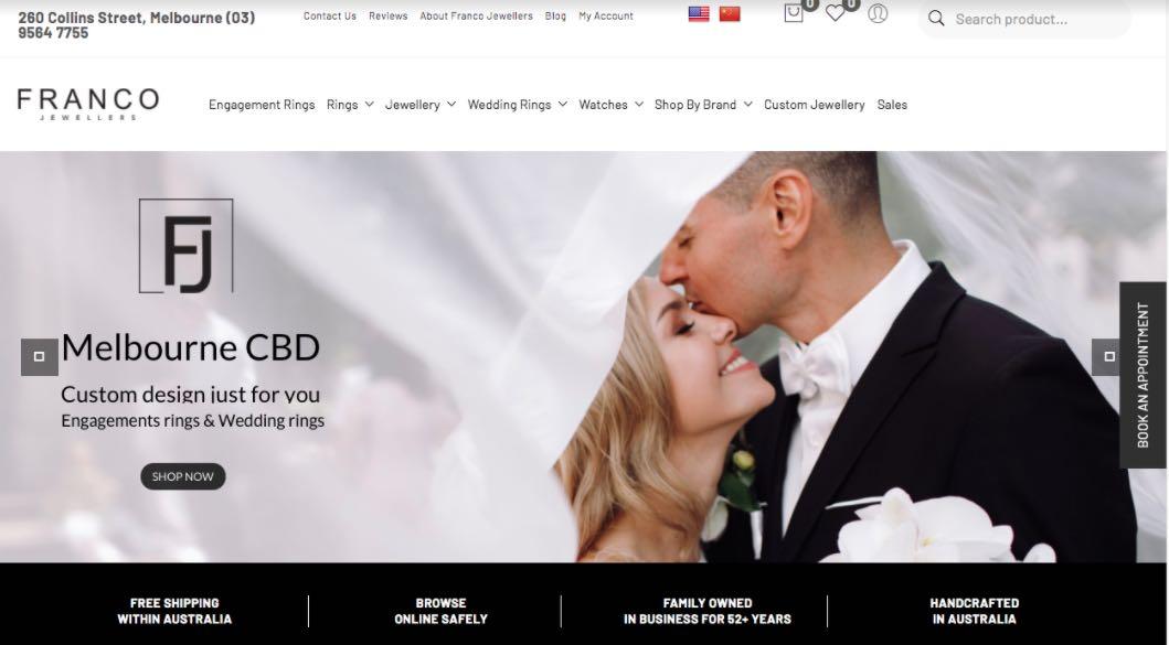 Franco Wedding Jewellery Shop Melbourne