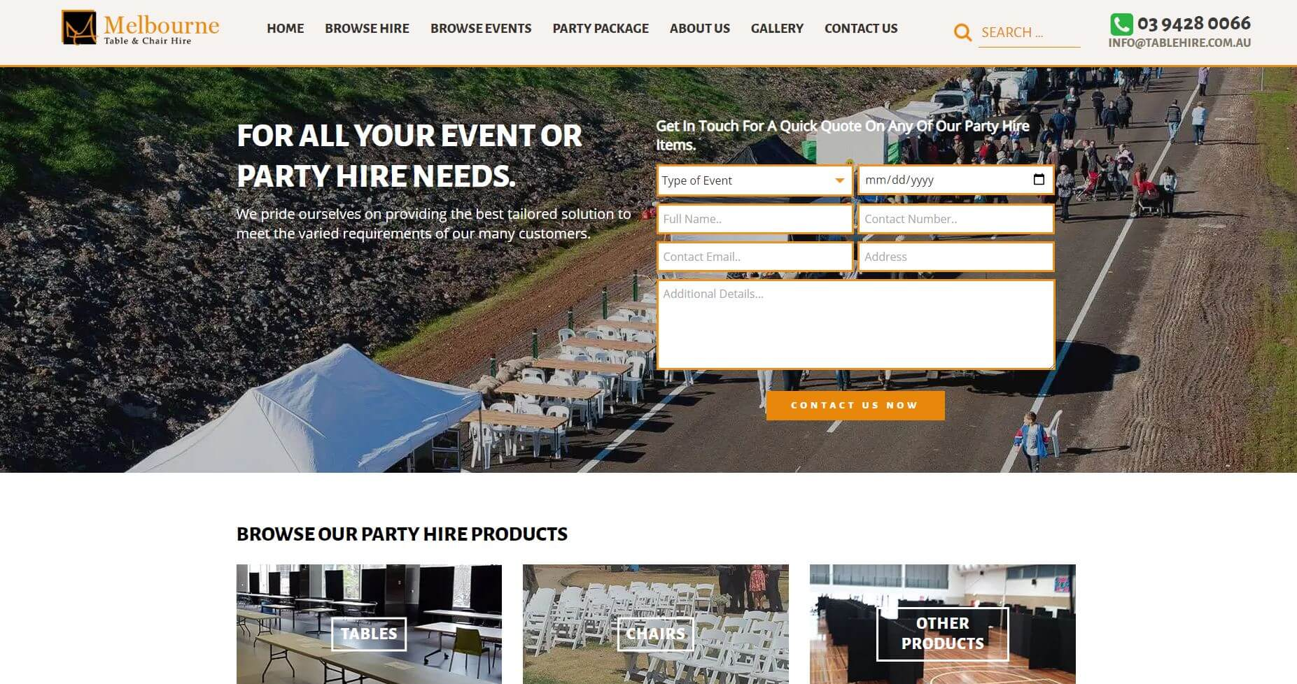 Melbourne Table & Chair Hire