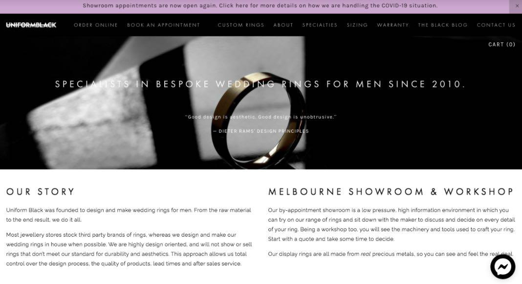 Uniform Black Wedding Jewellery Shop Melbourne