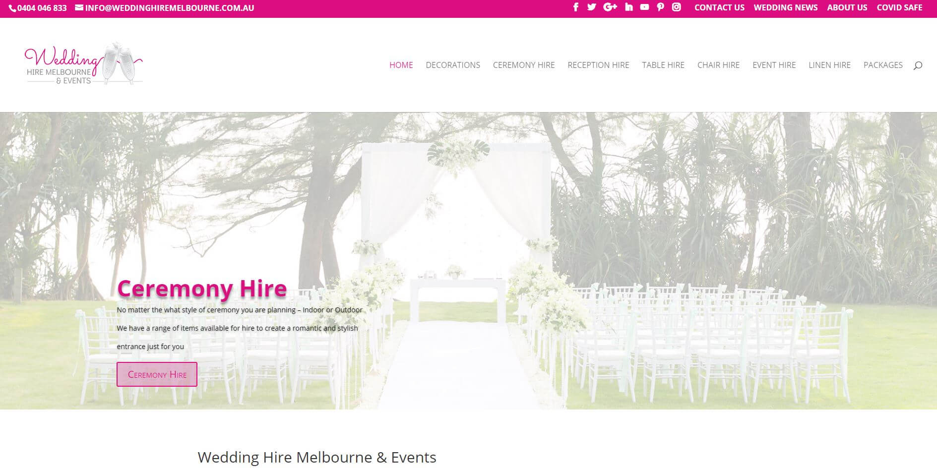 Wedding Hire Melbourne And Events