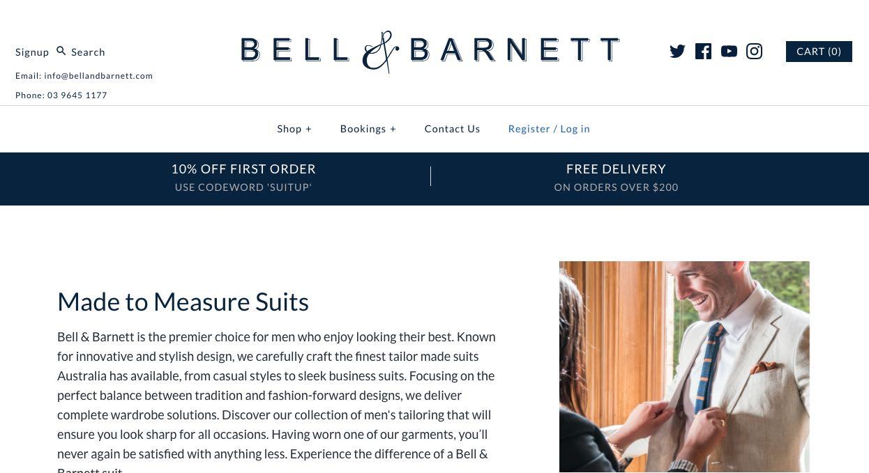 Bell & Barnett Suit Tailors Melbourne