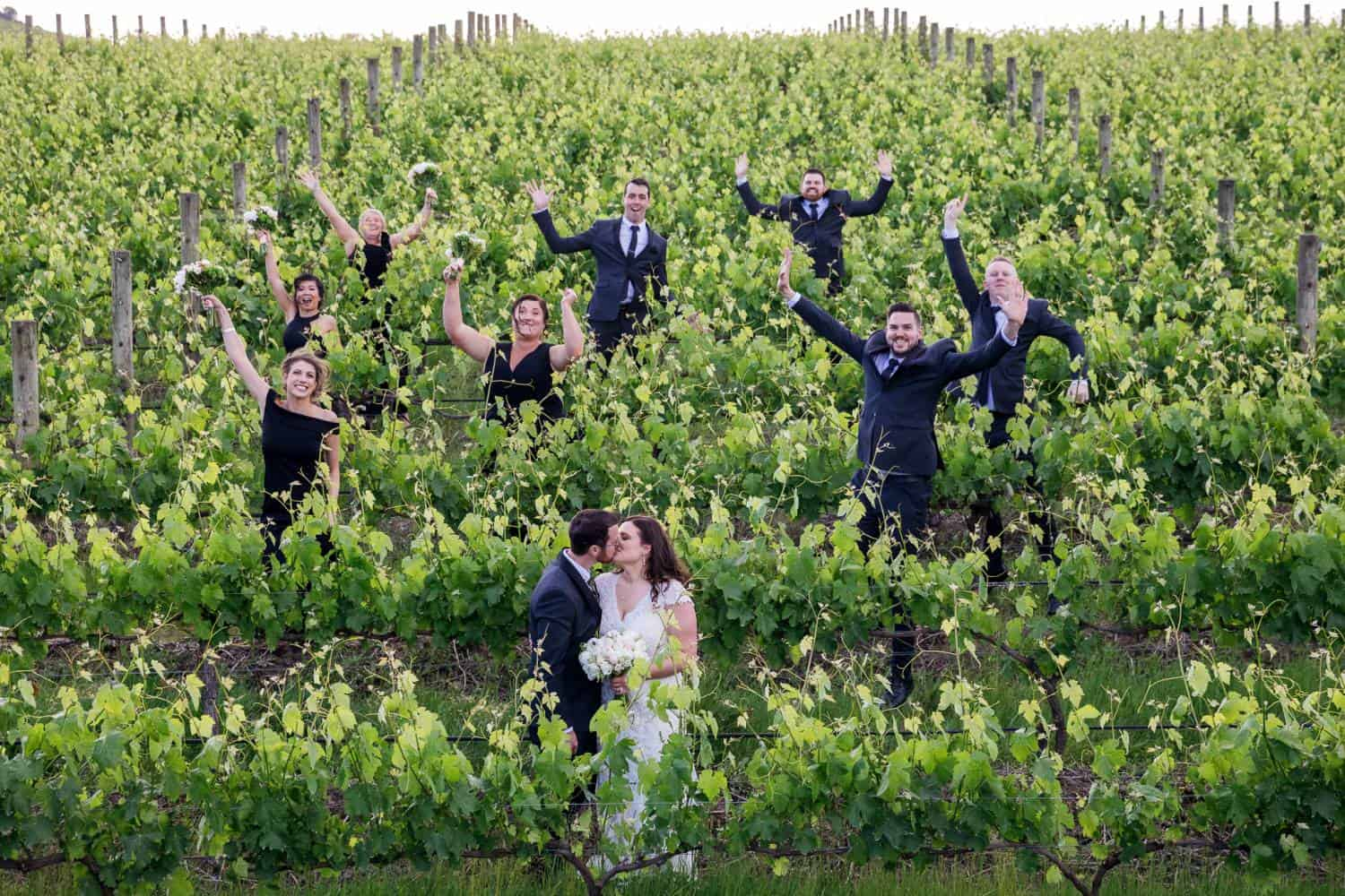 Bridal Party In Winery