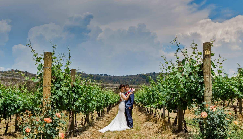 Couple Hugging At Yarra Valley Wedding