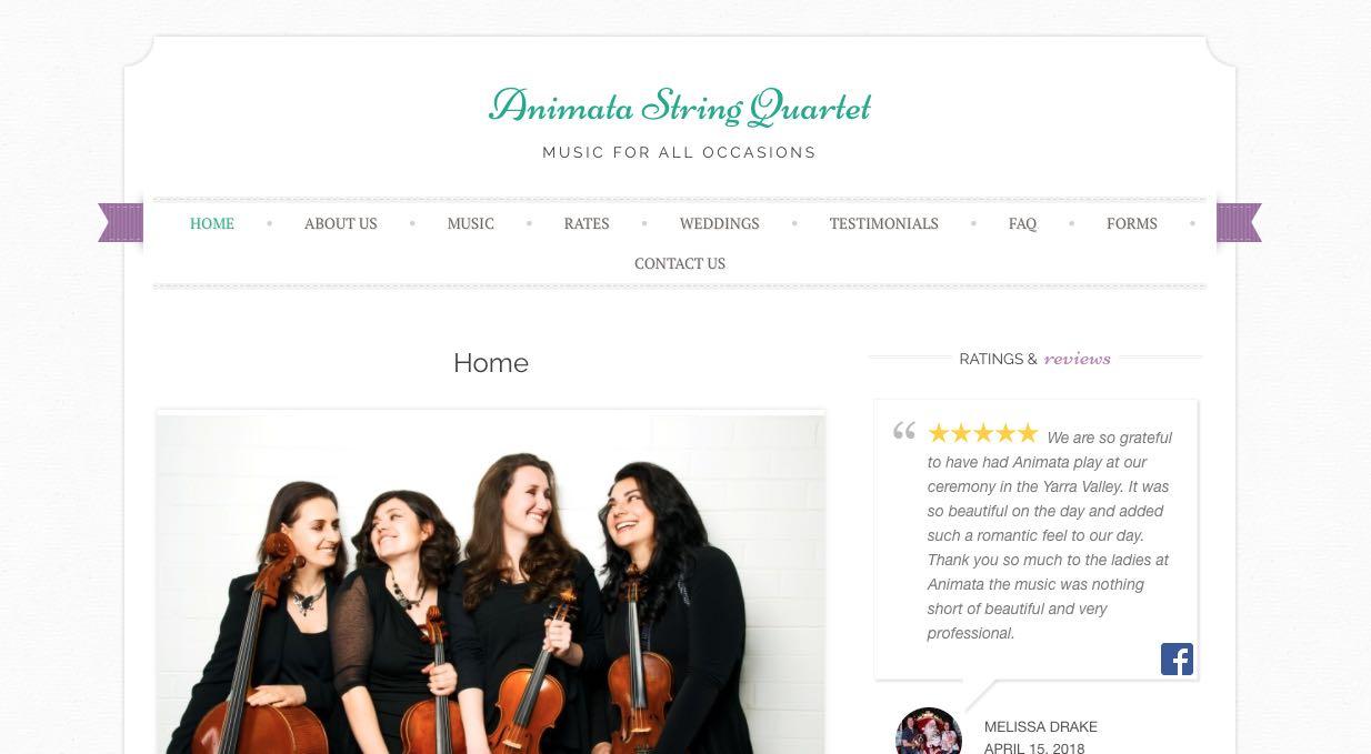 Animata String Quartet Wedding Band Melbourne